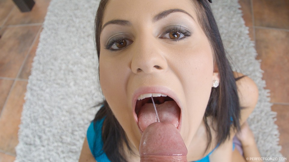 Loading her mouth full of sperm.